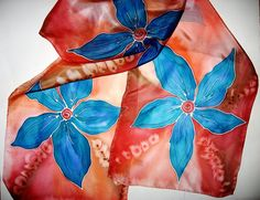 SALE   Hand Painted SILK scarf by SilkMagic on Etsy, $27.00