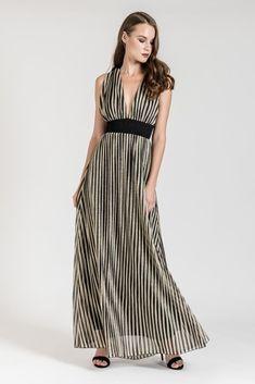 Choose this occasion metallic striped maxi dress for a glam night! Striped Maxi, Dress To Impress, Wrap Dress, Metallic, Dresses, Women, Fashion, Vestidos, Moda