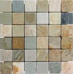 2 in. x 2 in. Golden White Tumbled Mesh-Mounted Quartzite Mosaic Tiles