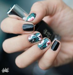 Dark Feng Shui nail art with flowers on short nails :: one1lady.com :: #nail #nails #nailart #manicure