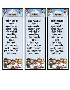 Greek and Latin Roots Prefix & Suffix Bookmarks
