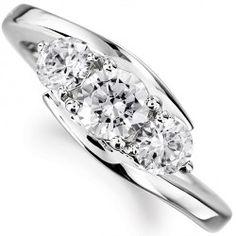 R3D018 - Three Stone Round Cross Over Diamond Ring. Three stone graduated diamond engagement ring with cross-over design
