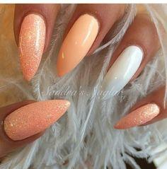 Long nails stilleto white orange