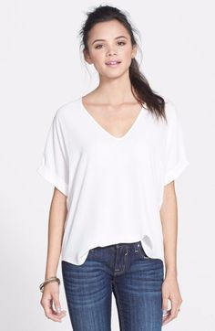 Lush Cuff Sleeve Woven Tee Ivory Medium $34 FTC #3719