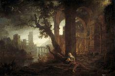 Claudio de Lorena - Paisaje con las tentaciones de san Antonio (Museo Nacional del Prado)