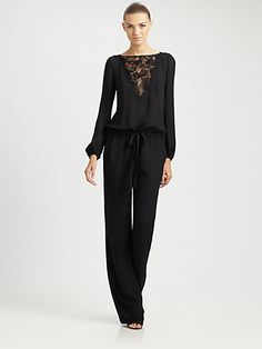 Emilio Pucci - Lace-Detail Jumpsuit - Positively exquisite, a jumpsuit with an alluring lace neckline and keyhole back. Lace v-neckline Long sleeves Elasticized cuffs Drawstring waist Slash pockets Button closure at keyhole back