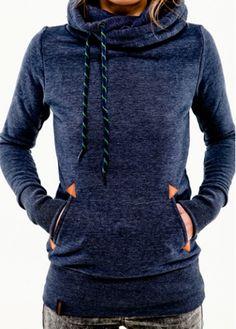Navy Blue Pocket Design Hooded Sweatshirt - USD $24.79