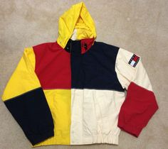 TOMMY-HILFIGER-Vintage-90s-ColorBlock-Jacket-Polo-Snow-Beach-Hip-Hop-Mens-Sz-XL