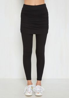 Couldn't Skirt to Try Leggings. Perhaps these black leggings are exactly your style, or maybe youre new to the world of skirted bottoms. #black #modcloth