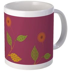 Bright Cranberry Daisies Mug  #magenta #pink #floral #accent #decor