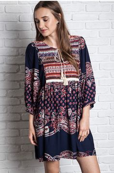 b4ecf141fc993 Paisley Printed Navy Peasant Dress with Pockets - Umgee Fashion Boutique