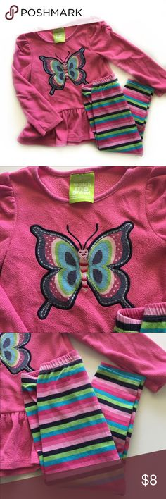 🦋Butterfly Set🦋 Adorable and cumfy fleece peplum style top with matching striped leggings by Sesame Street. Sesame Street Matching Sets
