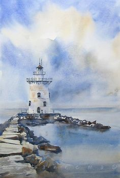 Doodlewash and watercolor painting by Edo Hannema of lighthouse with path of stones                                                                                                                                                                                 More