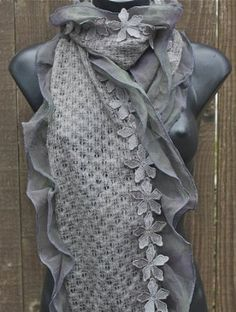 Terra Nomad Women's Woolly Long Scarf /Wrap With Stitched Flowers Edge Grey Terra Nomad. $29.00