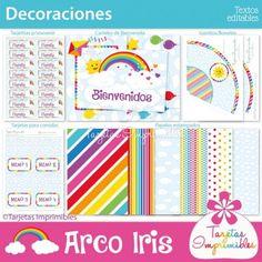 Arco Iris Kit de decoraciones para imprimir y decorar fiestas temáticas personalizadas. Banderines, centro de mesa, etiquetas para botellitas, gorritos, papeles digitales, molinitos, tarjetitas para souvenirs, y mucho más.