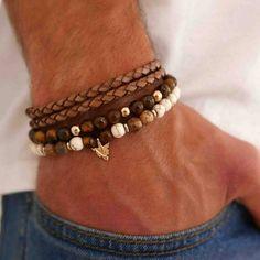 Men's Bracelet Set - Men's Beaded Bracelet - Men's Leather Bracelet - Men's Jewelry - Men's Gift - Boyfriend Gift - Husband Gift - Male  The simple and beautiful bracelet set combines 3 bracelets: 2 Howlite and Tiger Eye gemstones beads bracelet set with