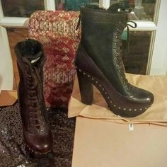 HOST PICK! Miu Miu Brown Platform Leather Boots! Beautiful and trendy new boots by Miu Miu.  Laces up front and zipper on back. Silver hardware.  Studs around sole.  Brown Leather and suede. Shearling lined interior.  Size 40.  2 inch platform and 6 inch heel including platform. New!  Includes box and dustbags. Reasonable offers are welcome. Please let me know any questions! Miu Miu Shoes Ankle Boots & Booties