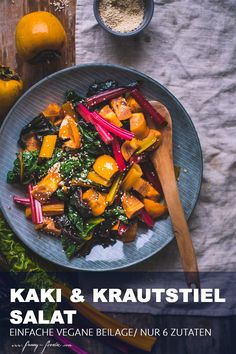 How about this delicious Swiss Chard & Persimmon Salad? Vegan Dinner Recipes, Vegan Dinners, Fall Recipes, My Recipes, Vegetarian Recipes, Swiss Chard Salad, Rabbit Food, Foodblogger, Winter Food