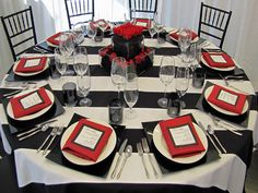 Beaufort Weddings - Black, red and white table settings with silver ...