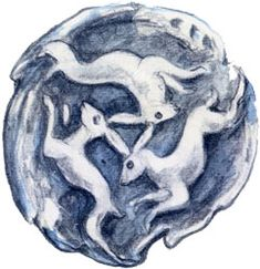 Triple Hares by Brian Froud. Also known as The Tinner Rabbits, this ancient design is the symbol of Chagford.