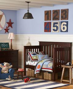 Sports theme for toddler room.