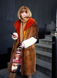 Color Blocked Fur..... Hello Anna  Fashion Week in New York