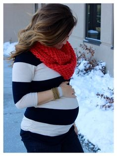 chunky coral knit infinity scarf, navy cream striped top / winter maternity style / maternity fashion