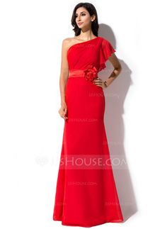 Sheath/Column One-Shoulder Floor-Length Chiffon Charmeuse Evening Dress With Flower(s) Cascading Ruffles (017041074)