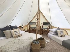 Family getaway 👨👨👦 for So much space in our bell tents, no more tripping over the youngsters in the middle of the night sleeping in a traditional tent. Bell Tent Glamping, Camping Glamping, Luxury Camping, Yurt Living, Living Spaces, Glamping Holidays, Cabana, Tent Decorations, Luxury Tents