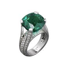CARTIER. Ring - platinum, one 12.16-carat cushion-shaped emerald from Colombia, brilliant-cut diamonds. #Cartier #L'OdyséeDeCartierParcoursD'unStyle #2013 #HauteJoaillerie #HighJewellery #FineJewelry #Emerald #Diamond