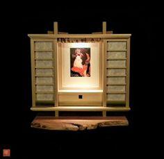 Small custom butsudan for Ukiyo-e print. Handmade with Japanese tools using traditional Japanese woodworking techniques. Original design. Sliding shoji doors with cloud dragon washi paper. Poplar and walnut. #butsudan #shoji #sashimono #shibui #sGI #gohonzon #gongyo #wabisabi #tokonoma #ukiyo-e #ukiyoe