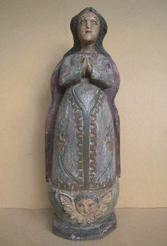 Philippines Vintage Repro Virgin Mary Santo w/ Glass Eyes, Shabby, Religious