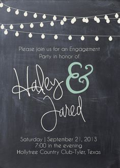 Chalkboard & Lights Engagement Invitation by papernpeonies on Etsy