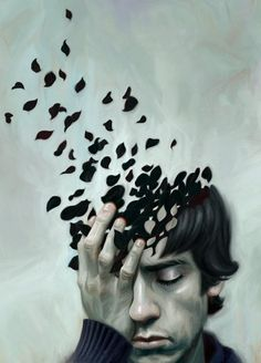 His mind is depicted to be fragmenting in a very relatable fashion, as things just fade away. Good insight!