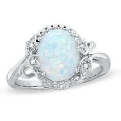 Oval Simulated Opal and Diamond Accent Frame Ring in Sterling Silver - Zales