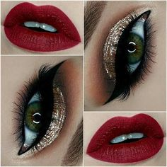 Gold Glitter Eyes + Red Lips