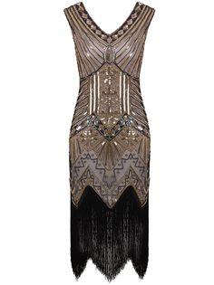 Amazon.com: Vijiv Women 1920s Gastby Sequin Art Nouveau Embellished Fringed Flapper Dress: Clothing