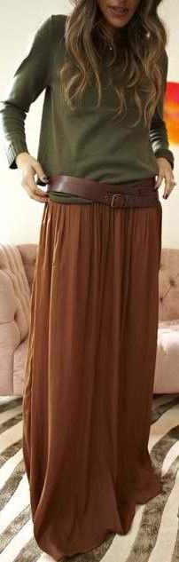 suede maxi skirt with boots, NOW, I would wear boots with this ...