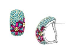 Flower Hoop Earrings with Swarovski Crystal in Sterling Silver