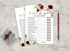 7108dfc3040 Marsala Printable He Said She Said Bridal Shower Game Floral Games Blush  Pink Burgundy Peonies Flowers Wedding Trivia Quiz - BG018