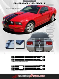 "2005 - 2009 Ford Mustang S-500 and S-501 GT V8 Racing and 10"" Rally Stripes 3M Vinyl Decal Graphics"