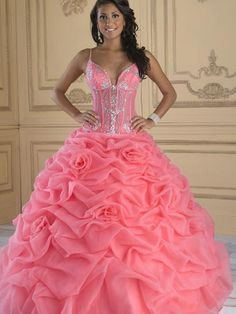 Gorgeous Best Seller Ball Gown Spaghetti Strap Pink Caught-Up Appliqued Quinceanera Dress