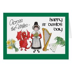 Shop St David's Day Greeting Card: Across the Miles Card created by poshnpainterlycymru. Personalize it with photos & text or purchase as is! Symbol Of Wales, Welsh Sayings, St Davids Cathedral, Saint David's Day, Saints Days, England, Red Dragon, Patron Saints