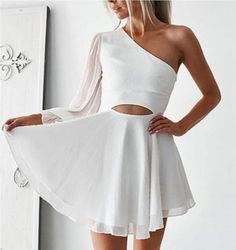 Sexy White One Shoulder Short Party Dress T1339 by sweetdressy, $89.10 USD Elegant Homecoming Dresses, Evening Dresses, Prom Dresses, School Dresses, Dresses For Teens, Amy, Chiffon, Vintage Dresses, 1950s Dresses