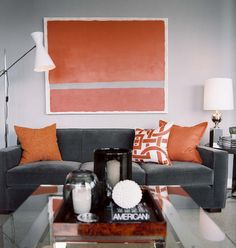 Get tons of ideas for different living room color schemes for your home. Color combinations you will love in just one article! Grey And Orange Living Room, Orange Rooms, Living Room Grey, Home And Living, Modern Living, Grey Room, Grey Orange Bedroom, Modern Sofa, Midcentury Modern