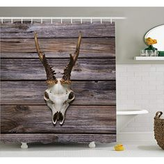 Ambesonne Antlers Decor Shower Curtain Set, Rustic Antler On Wooden Wall Wintertime Mountain Hut Country Style Rustic Decoration, Bathroom Accessories, X Inches, Brown Beige >>> Visit the image link more details. (This is an affiliate link) Deer Shower Curtain, Bathroom Curtain Set, Tree Shower Curtains, Shower Curtain Sizes, Striped Shower Curtains, Curtain Sets, Gray Bathroom Decor, Bathroom Accessories, Wooden Pattern