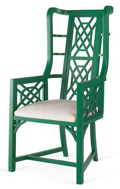 Kings Grant Chair, Emerald/Snow | For the Fun of It | One Kings Lane