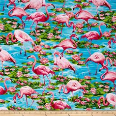Timeless Treasures Flamingos Turquoise from @fabricdotcom  Designed by Michael Searle for Timeless Treasures, this cotton print fabric is perfect for quilting, apparel and home décor accents. Colors include turquoise, pink, and green.