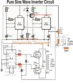 Pure Sine Wave Inverter Circuit - Making Easy Circuits Electronics Engineering Projects, Electronic Circuit Projects, Electronics Basics, Electrical Projects, Electronics Components, Electronic Engineering, Led Projects, Ups Power Supply, Power Supply Circuit