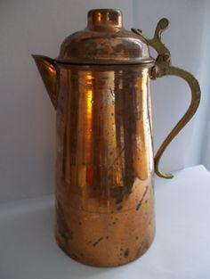 Vintage Old Copper & Brass Teapot Coffee Pot/ Vintage Teapots/ Vintage…